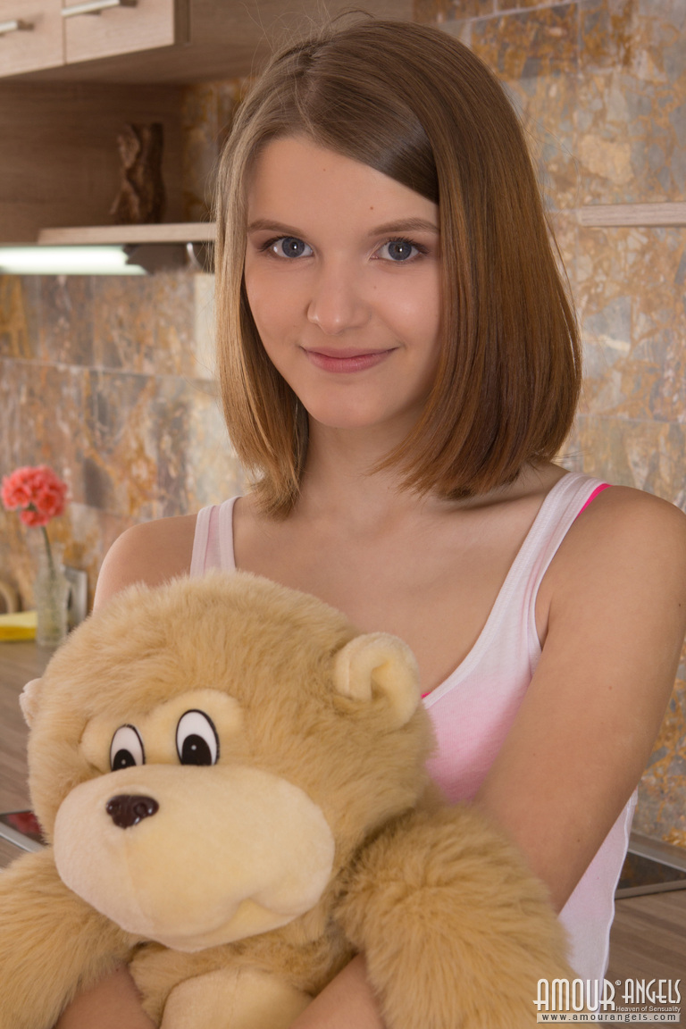 With russian teddy bear girl